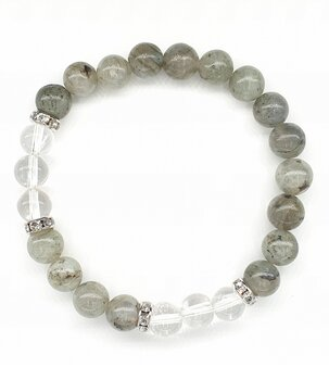 Gemstone Power Bracelet - Labradorite n' Clear Quartz