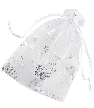 Organza Jewellery Pouch - Silver Grey with Butterfly 10 x 15cm