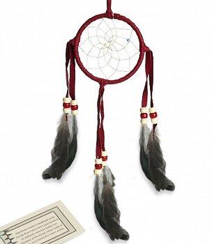 Authentic Native American Dream Catcher - Red, 8cm