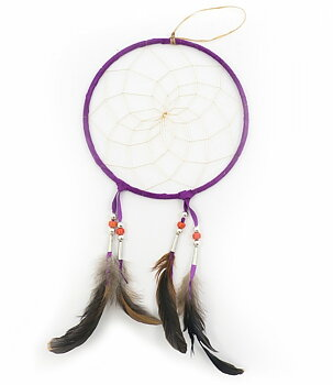 Authentic Native American Dream Catcher - Purple, 17cm
