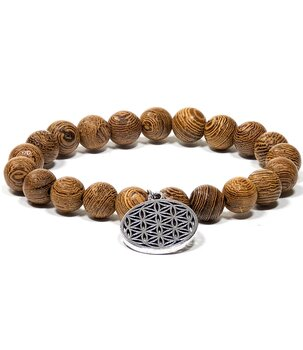 Buddhist Stretchy Mala BRACELET - Wenge Wood with Flower of Life