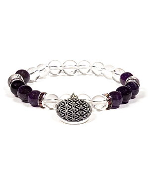 Gemstone Power Bracelet - Clear Quartz n' Amethyst with Flower of Life