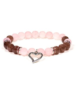 Gemstone Power Bracelet - Rose n' Strawberry Quartz with Heart