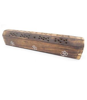 Incense Holder Wood Box - AUM / OM