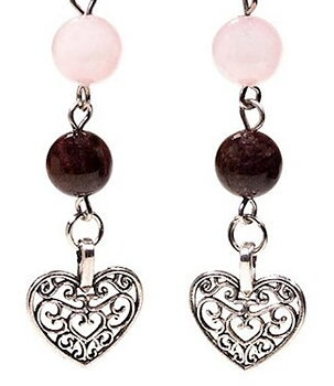 Gemstone Earrings - Garnet n' Rose Quartz with Heart