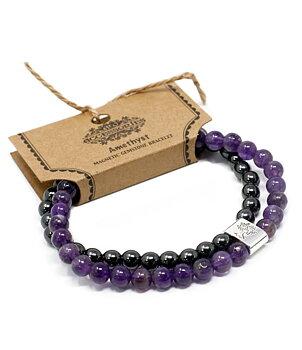 Gemstone Bracelet - Magnetic Hematite & Amethyst
