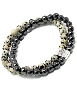 Gemstone Bracelet - Magnetic Hematite & Dalmatian Jasper