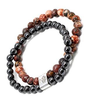 Gemstone Bracelet - Magnetic Hematite & Leopard Skin Jasper