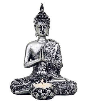 Amitabha Thai Buddha - Silvery Tealight Holder 21cm