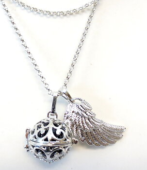 Vintage Locket Pendant NECKLACE - Angel Wing Bola