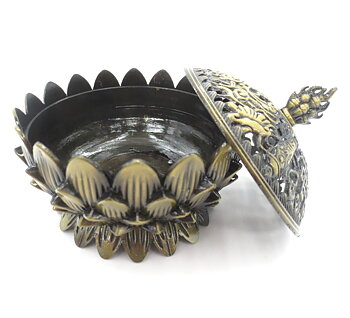 Charcoal Burner - Metal Tibetan Lotus Flower