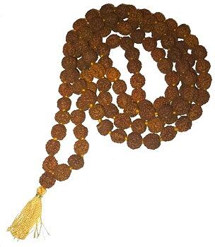 Buddhist Mala Prayer Beads NECKLACE - Rudraksha 8mm