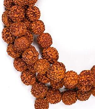 Buddhist Mala Prayer Beads NECKLACE - Rudraksha 10mm
