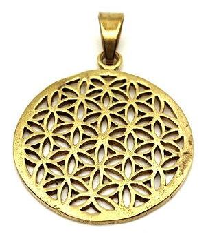 Brass Pendant - Flower of Life,  Golden