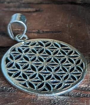 Brass Pendant - Flower of Life,  Silvery