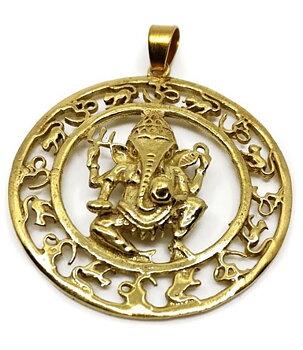 Brass Pendant - Ganesh,  Golden