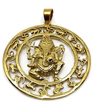 Brass Pendant - Ganesh,  Golden