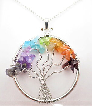 Gemstone Chakra Pendant Necklace  - Tree of Life