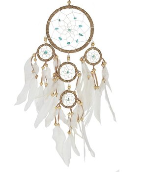 Dream Catcher Multi 5 - Hemp Wrapped with Turquoise 12cm
