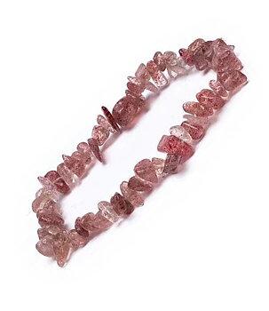 Gemstone Chip Bracelet - Strawberry Quartz