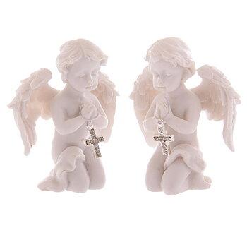 2 st bedjande änglar med kors