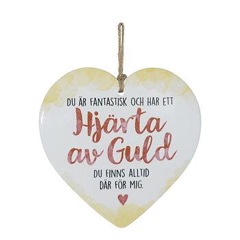 Skylt, Enjoy heart - Hjärta av guld