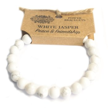 Armband, Power Bracelet - White Jasper