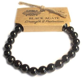 Armband, Power Bracelet - Black Agate