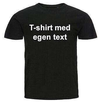 T-shirt med egen text - Svart, tryck på framsida