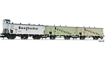 """3 piece set refrigerator wagons """"Seefische"""""""