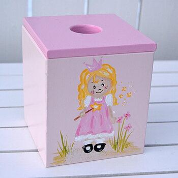 """Ljusrosa nappburk med motivet """"prinsessa"""" och rosa lock"""