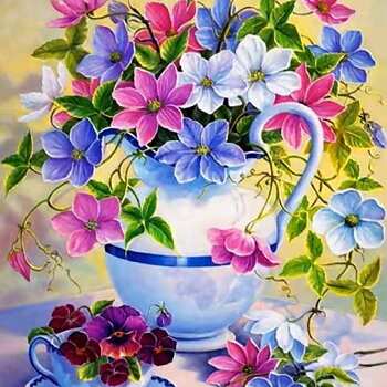 Diamond painting. Blommor