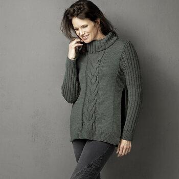 Mönster - Sweater med fläta och öppna sömmar.  (4000)