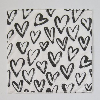 Matservetter. Hjärtan vit/svart
