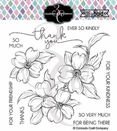 Colorado Craft - Thank You Dogwood-Big & Bold - Clearstamps