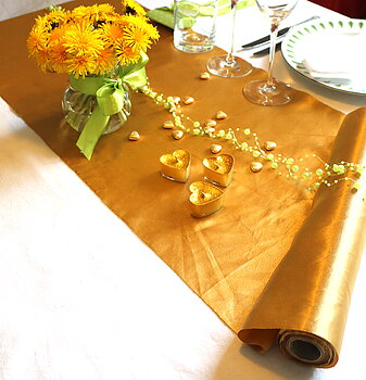 Table runner Satin Gold