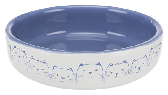 Låg vattenskål eller matskål till katter blå med kattmönster.