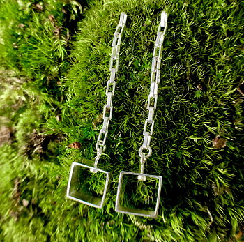 NEWS Earring Square with lång chain 925 Silver