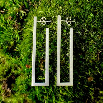 NEWS Earrings Rectangle 925 Silver