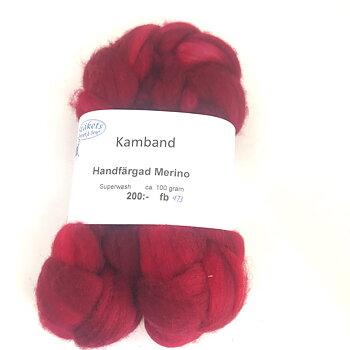 Kamband Handfärgad Superwash Merino rödmelerad