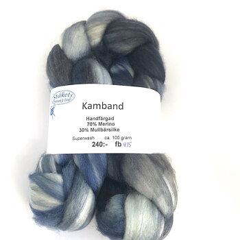 Kamband handfärgad Superwash Merino/ Mullbärssilke blågråmelerad