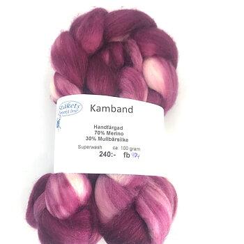 Kamband handfärgad Superwash Merino/ Mullbärssilke vinrödmelerad