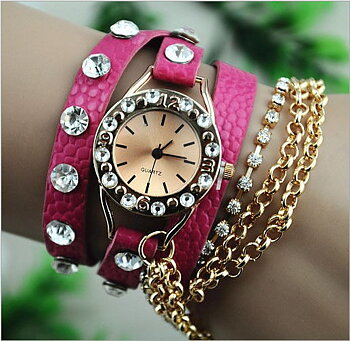 Bracelet Watch chain & strass - Rosa