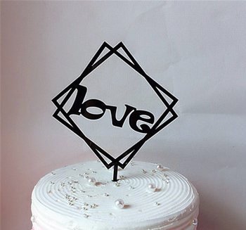 Cake Topper, acrylic, Love Black