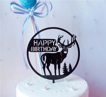 Cake Topper, acrylic, Happy Birtday, Reindeer