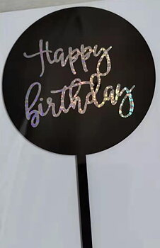 Cake Topper, acrylic, Happy Birtday, Black round