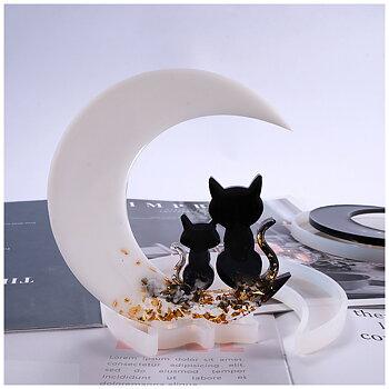 Gjutform  i silikon -  Katter & Måne 13cm