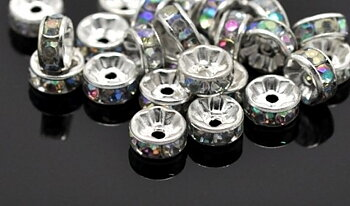 strass rondelle  Silver 8 mm, Clear AB