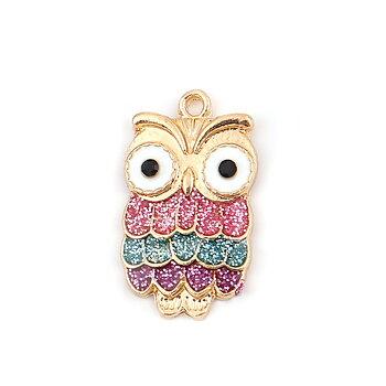 Charm   owl rhinestoe black