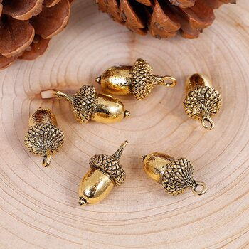 Charm Acorn, 3D gold